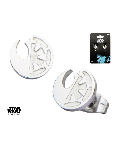 STAR WARS - ALLIANCE V EMPIRE SYMBOLS SPLIT ROUND STUD EARRINGS