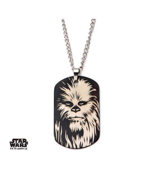 STAR WARS - CHEWBACCA METAL ART DOG TAG PENDANT WITH CHAIN NECKLACE