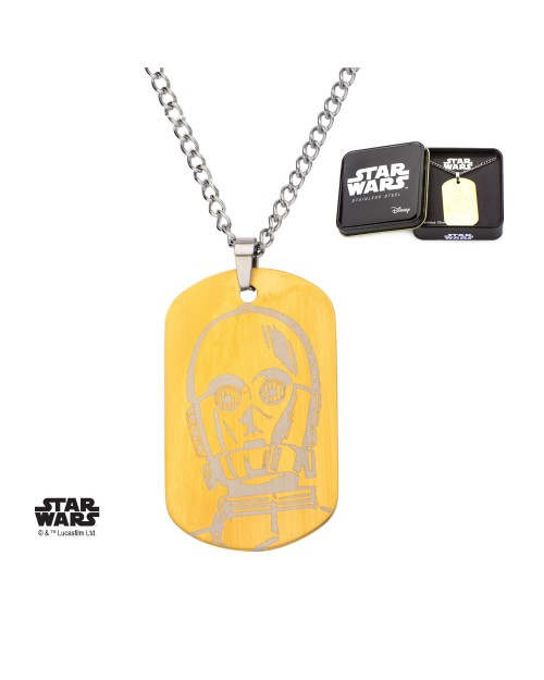 STAR WARS - C-3PO GOLD IP DOG TAG PENDANT WITH CHAIN NECKLACE