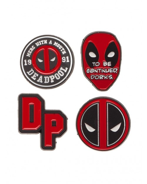 MARVEL COMICS - DEADPOOL METEL 4 PIECE PIN BADGE SET