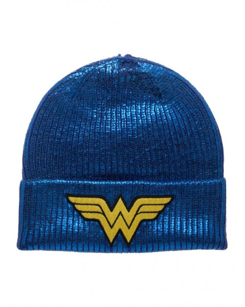 DC COMICS - WONDER WOMAN SYMBOL BLUE METALLIC COAT BEANIE
