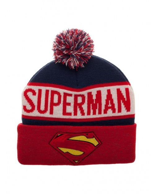 7396c612ca9 OFFICIAL DC COMICS SUPERMAN FACE POP HEROES BLUE BEANIE HAT - Spike ...