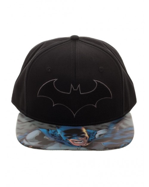DC COMICS - BATMAN SYMBOL BLACK SNAPBACK CAP WITH PRINTED 3D VISOR