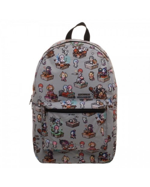 CRUNCHYROLL RE ZERO 'GAME OVER CONTINUE?' ALL OVER PRINT GREY BACKPACK