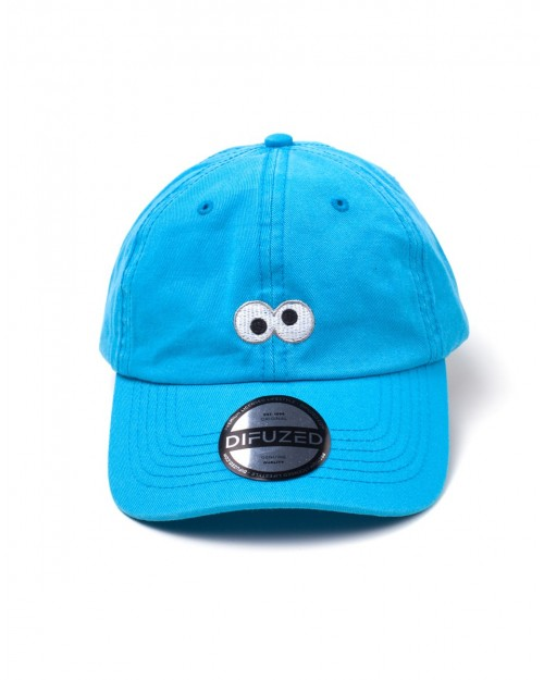 SESAME STREET - COOKIE MONSTER EYES BLUE STRAPBACK BASEBALL CAP 'DAD HAT'