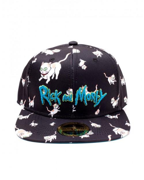 RICK AND MORTY - MRS SULLIVAN CATS ALL OVER PRINT BLACK SNAPBACK CAP