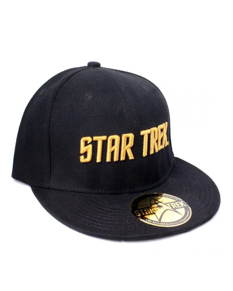 0e0b89c3 OFFICIAL STAR TREK TEXT LOGO BLACK SNAPBACK CAP - Spike Dabomb