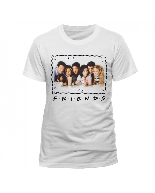 OFFICIAL FRIENDS (TV SERIES) - MILKSHAKE PRINT BOARDER WHITE T-SHIRT
