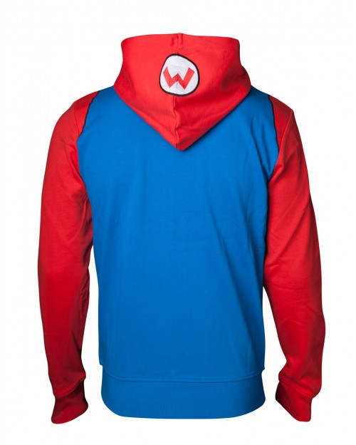 OFFICIAL NINTENDO - SUPER MARIO BROS MARIO DUNGAREES COSTUME/ COSPLAY ZIP HOODIE JUMPER
