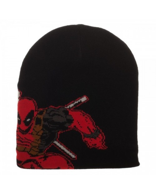 OFFICIAL MARVEL COMICS - DEADPOOL KNITTED BLACK BEANIE