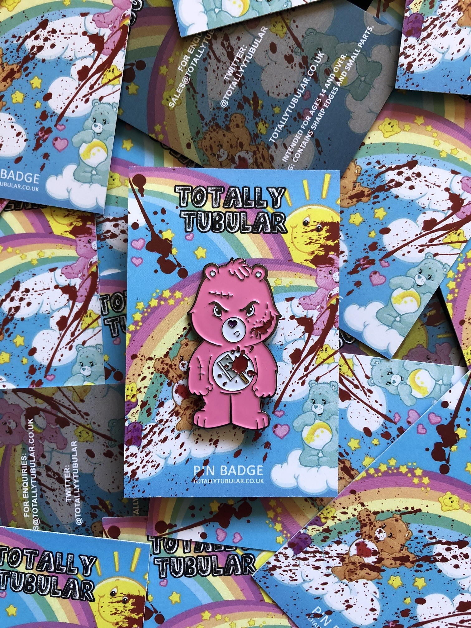 INTENSIVE CARE BEAR ENAMEL PIN BADGE BY TOTALLY TUBULAR