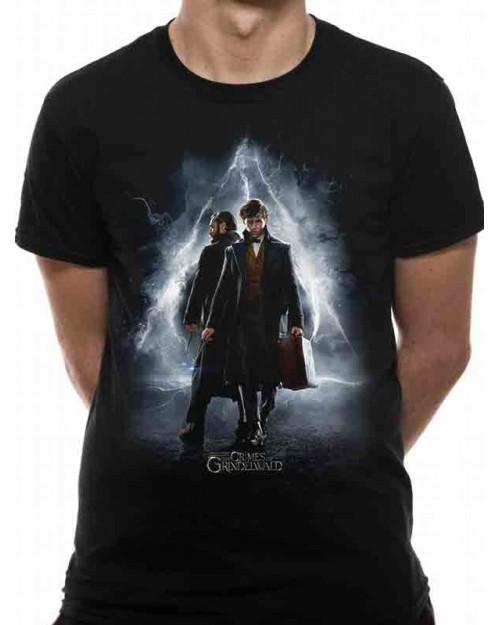 FANTASTIC BEASTS - CRIMES OF GRINDELWALD - DUMBLEDORE AND NEWT POSTER BLACK T-SHIRT