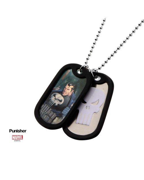 MARVEL COMICS - THE PUNISHER SUITED/ SKULL SYMBOL DOG TAG PENDANT WITH CHAIN NECKLACE