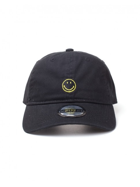 OFFICIAL THE ORIGINAL SMILEY FACE BRAND BLACK STRAPBACK BASEBALL CAP 'DAD HAT'