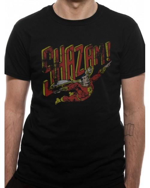 DC COMICS - SHAZAM (CAPTAIN MARVEL) FLYING TEXT SYMBOL BLACK T-SHIRT