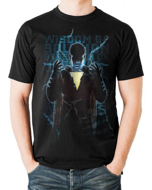 DC COMICS - SHAZAM (CAPTAIN MARVEL) LIGHTING TEXT BLACK T-SHIRT