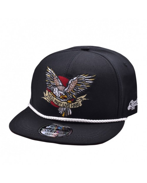 CARBON 212 HOLD FAST, LIVE HARD AMERICAN EAGLE BLACK SNAPBACK CAP