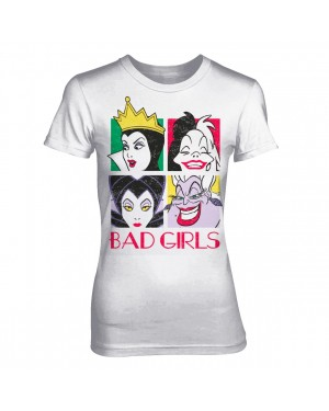 OFFICIAL DISNEY VILLAINS - 'BAD GIRLS' MALEFICENT, CRUELLA DE VIL, THE EVIL QUEEN, AND URSULA WHITE FITTED T-SHIRT
