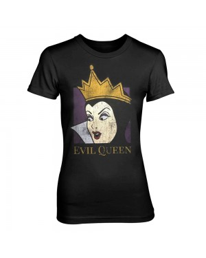 OFFICIAL DISNEY VILLAINS - SNOW WHITE - THE EVIL QUEEN BLACK FITTED T-SHIRT