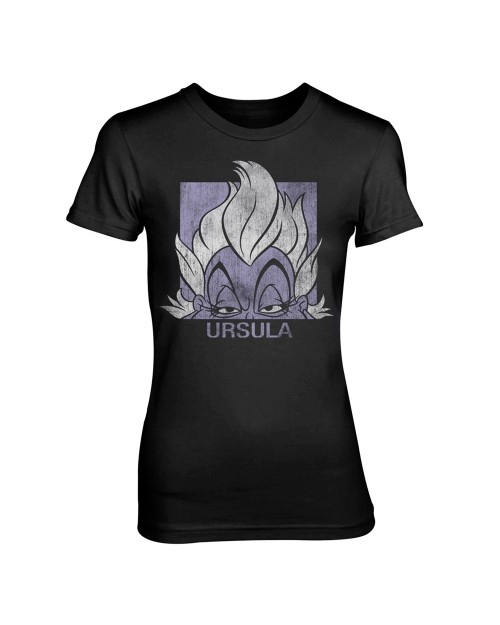 OFFICIAL DISNEY VILLAINS - THE LITTLE MERMAID URSULA DISTRESSED PRINT BLACK FITTED T-SHIRT