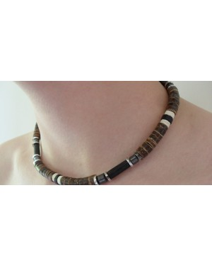 BROWN BEACH STYLE COCO BEAD & HEMATITE NECKLACE