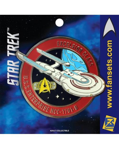 OFFICIAL STAR TREK - EXCELSIOR CLASS - U.S.S. ENTERPRISE NCC-1701-B FANSET METAL PIN BADGE