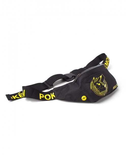OFFICIAL NINTENDO - POKEMON PIKACHU PRINTED BLACK BUM BAG (FANNY PACK)