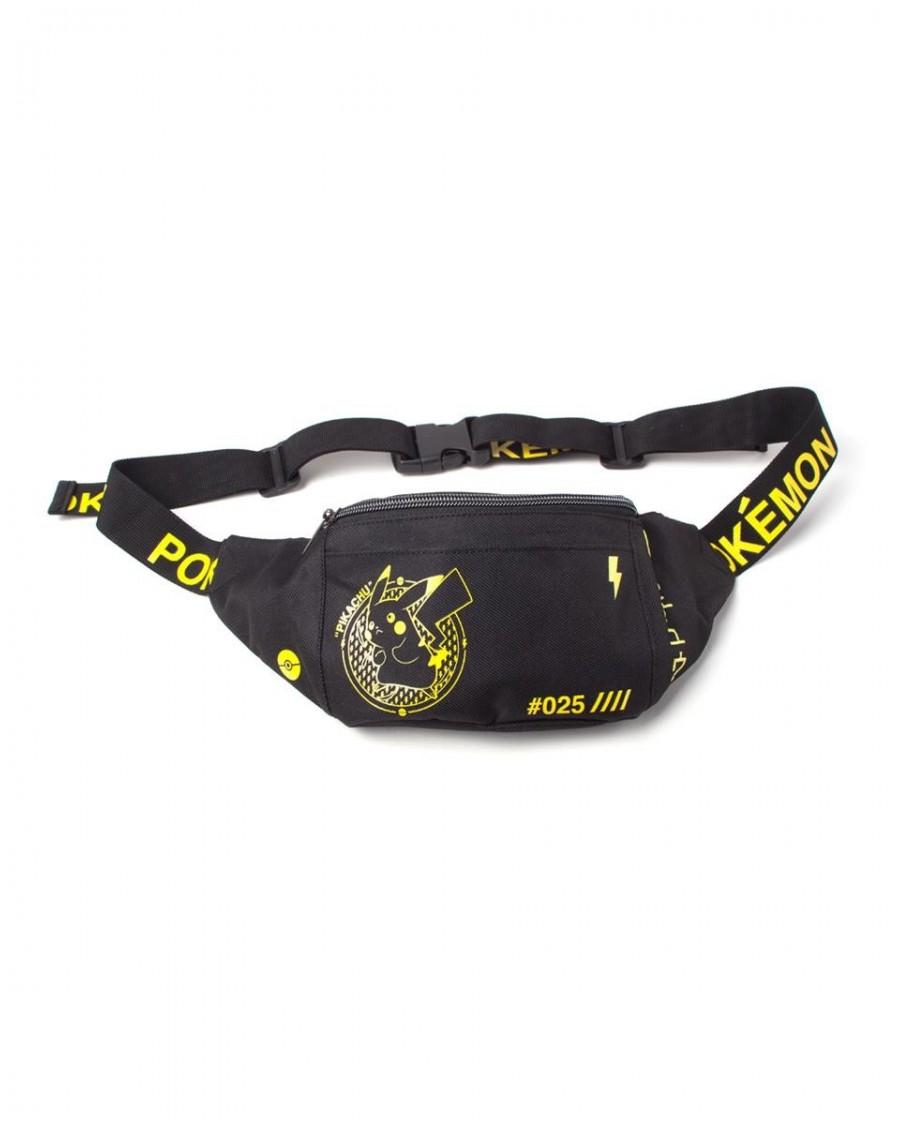 OFFICIAL NINTENDO - POKEMON PIKACHU PRINTED BLACK BUM BAG (FANNY PACK)