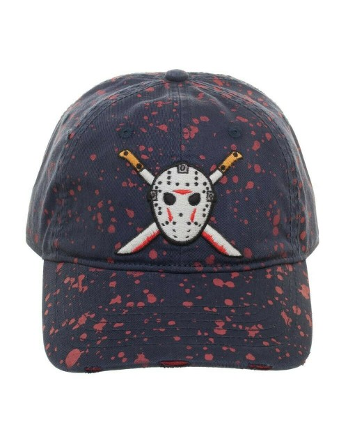 OFFICIAL FRIDAY THE 13TH - JASON VOORHEES HOCKEY MASK MACHETE BLOOD SPLATTERED NAVY BLUE STRAPBACK BASEBALL CAP 'DAD HAT'