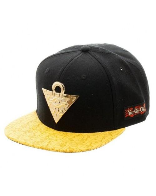 YU-GI-OH! LOGO BLACK SNAPBACK CAP WITH PRINTED DARK MAGICIAN VISOR
