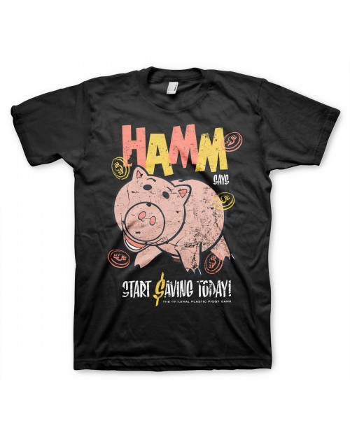 OFFICIAL DISNEY TOY STORY - HAMM SAYS START SAVING TODAY TOY POSTER PRINT BLACK T-SHIRT