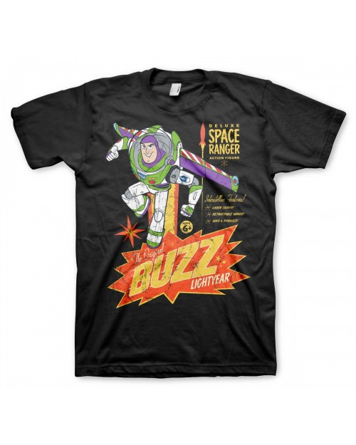 OFFICIAL DISNEY TOY STORY - BUZZ LIGHTYEAR DELUXE SPACE RANGER TOY POSTER PRINT BLACK T-SHIRT