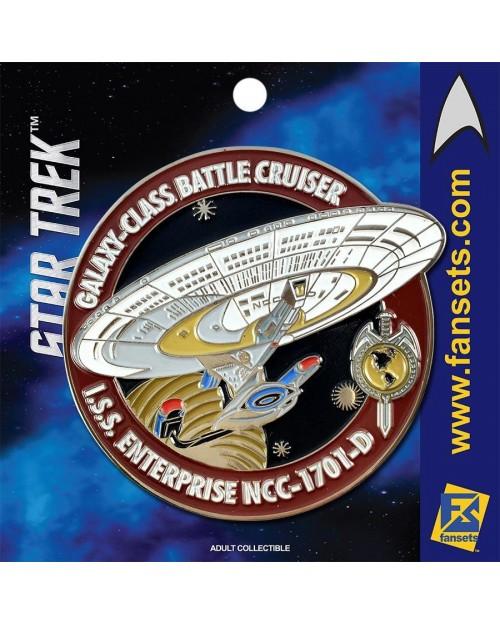 OFFICIAL STAR TREK - I.S.S. ENTERPRISE NCC-1701-D RED FANSET METAL PIN BADGE