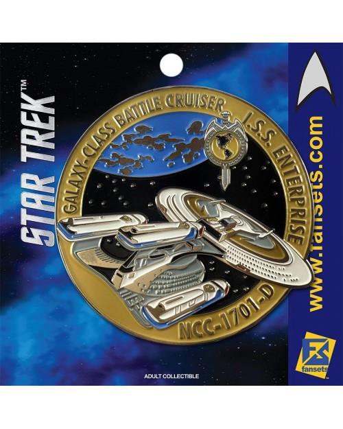 OFFICIAL STAR TREK - I.S.S. ENTERPRISE NCC-1701-D (MIRROR UNIVERSE) YELLOW FANSET METAL PIN BADGE