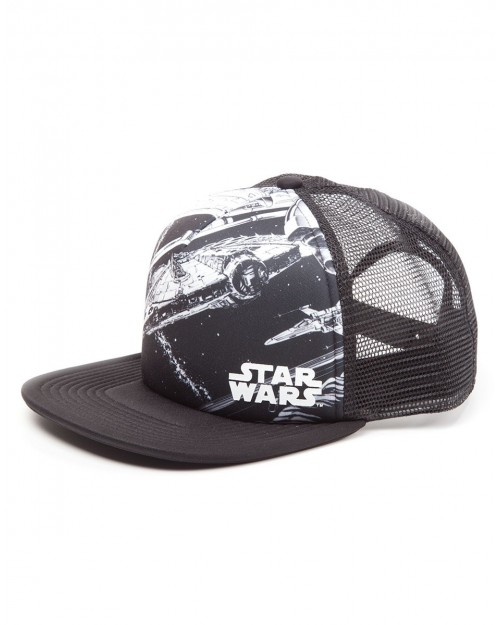 STAR WARS - MILLENNIUM FALCON PRINTED TRUCKER MESH SNAPBACK CAP