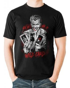 OFFICIAL DC COMICS - BATMAN THE JOKER - WILD CARD PRINT BLACK T-SHIRT