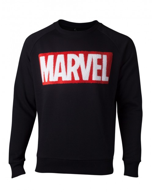 OFFICIAL MARVEL COMICS CHENILLE SYMBOL BLACK SWEATER JUMPER