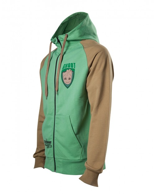 OFFICIAL MARVEL GUARDIANS OF THE GALAXY 2 GROOT GREEN ZIP HOODIE JUMPER