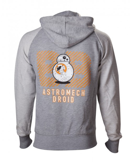 OFFICIAL STAR WARS BB-8 ASTROMECH DROID BACK PRINT ZIP HOODIE JUMPER