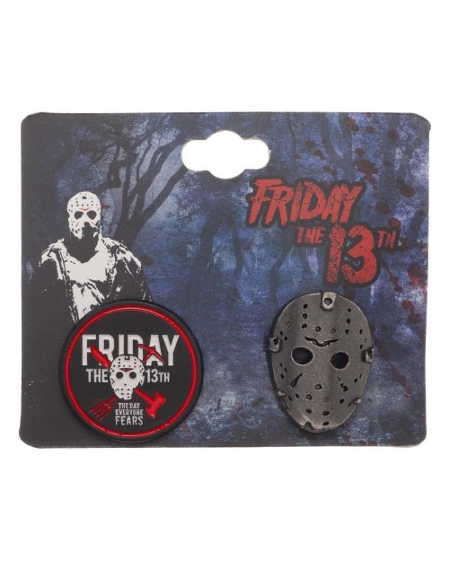 FRIDAY THE 13TH - JASON VOORHEES HOCKEY MASK & LOGO SET OF 2 METAL PIN BADGE