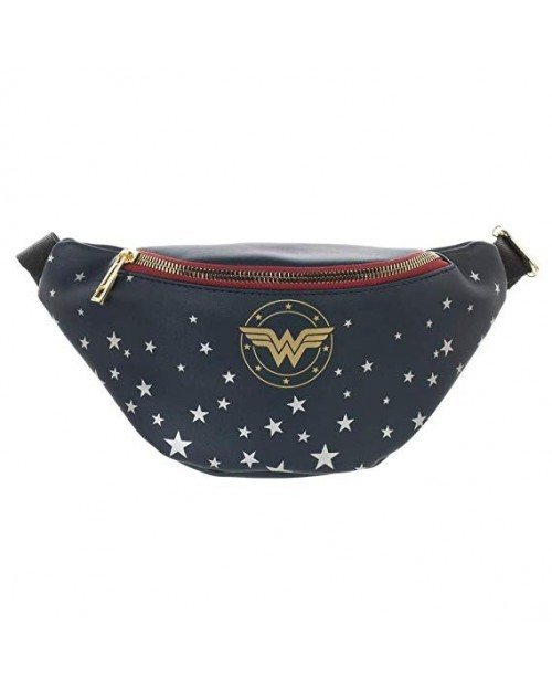 OFFICIAL DC COMICS WONDER WOMAN LOGO & STARS PRINTED BUM BAG (FANNY PACK)