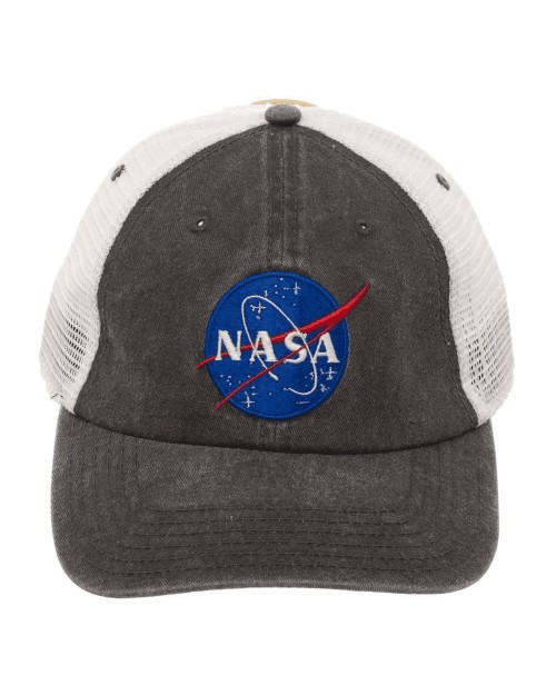 OFFICIAL NASA SYMBOL GREY TRUCKER MESH BASEBALL STRAPBACK CAP