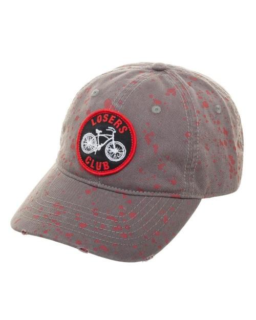 OFFICIAL IT - LOSERS CLUB SYMBOL BLOOD SPLATTERED GREY STRAPBACK BASEBALL CAP 'DAD HAT'