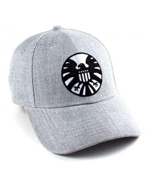 MARVEL COMICS - CAPTAIN MARVEL SHIELD CLASSIC LOGO GREY STRAPBACK BASEBALL CAP