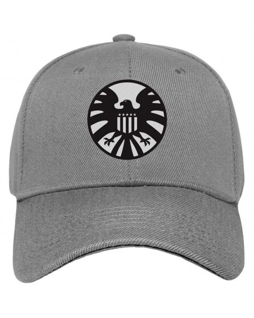 MARVEL COMICS - CAPTAIN MARVEL SHIELD CLASSIC LOGO GREY STRAPBACK BASEBALL CAP