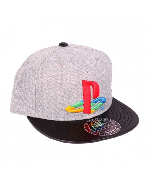 OFFICIAL SONY PLASYSTATION SYMBOL COLOURED GREY SNAPBACK CAP