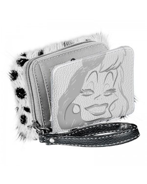DISNEY VILLAINS CRUELLA DE VIL SILVER CLUTCH PURSE/ WALLET