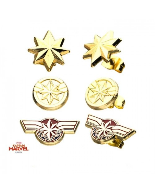 MARVEL COMICS CAPTAIN MARVEL STAR SYMBOL STUD EARRINGS
