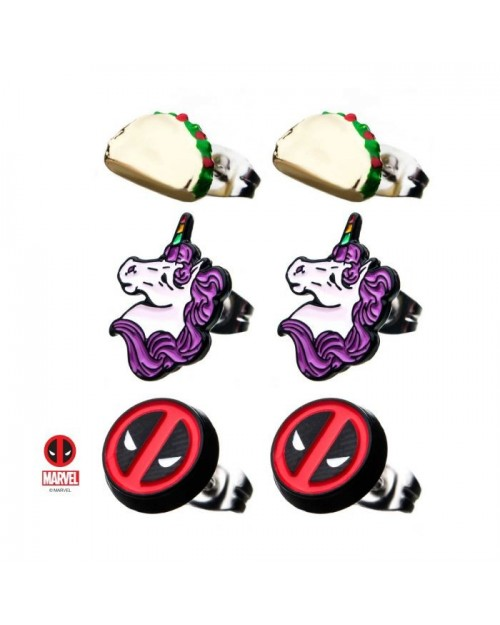 MARVEL COMICS - DEADPOOL UNICORN TACO SET OF 3 STUD EARRINGS