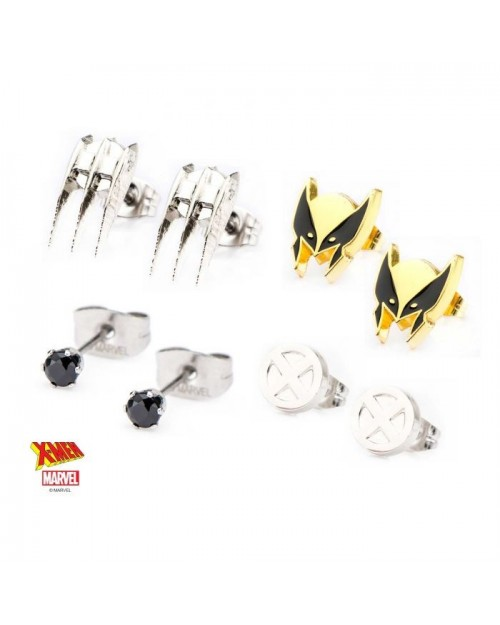 MARVEL COMICS - WOLVERINE LOGAN SET OF 4 STUD EARRINGS